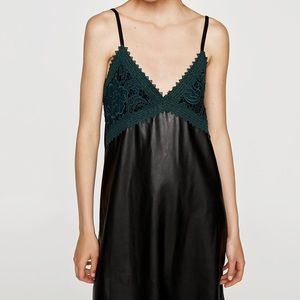 NWOT Zara leather & green lace mini dress